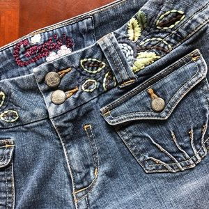 Floral Embroidered Flare Leg Jeans